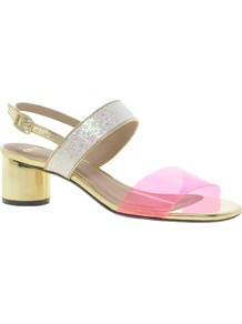 Hipster Heeled Sandals - predominant colour: hot pink; occasions: casual, evening; material: faux leather; heel height: mid; embellishment: glitter; heel: block; toe: open toe/peeptoe; style: standard; trends: fluorescent, metallics; finish: metallic; pattern: colourblock