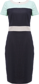 Kalyn Dress - style: shift; neckline: low v-neck; fit: tailored/fitted; predominant colour: navy; secondary colour: mint green; occasions: casual, evening, work; length: just above the knee; fibres: linen - 100%; sleeve length: short sleeve; sleeve style: standard; texture group: linen; pattern type: fabric; pattern: colourblock