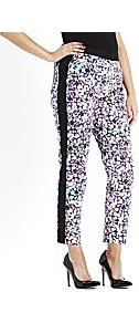 Sequin Print Trousers - waist: mid/regular rise; predominant colour: black; occasions: casual, evening, occasion; length: ankle length; fibres: cotton - mix; fit: straight leg; pattern type: fabric; pattern size: big &amp; busy; pattern: patterned/print; texture group: other - light to midweight; style: standard
