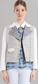 Jacket Vernis - collar: asymmetric biker; style: boxy; pattern: herringbone/tweed; secondary colour: white; predominant colour: light grey; occasions: casual, work; length: standard; fit: straight cut (boxy); fibres: cotton - mix; sleeve length: long sleeve; sleeve style: standard; collar break: medium; pattern type: fabric; pattern size: standard; texture group: tweed - light/midweight