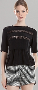 Top Eloge - pattern: plain; neckline: high neck; waist detail: peplum waist detail; predominant colour: black; occasions: evening, work; length: standard; style: top; fibres: silk - mix; fit: body skimming; bust detail: contrast pattern/fabric/detail at bust; sleeve length: half sleeve; sleeve style: standard; texture group: silky - light; pattern type: fabric; embellishment: lace