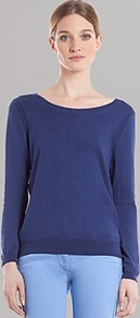 Sweater Sam - neckline: round neck; pattern: plain; style: standard; predominant colour: navy; occasions: casual; length: standard; fibres: cotton - mix; fit: standard fit; sleeve length: long sleeve; sleeve style: standard; texture group: knits/crochet; pattern type: knitted - fine stitch