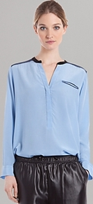 Top Eldorado Bis - neckline: v-neck; pattern: plain; bust detail: pocket detail at bust; style: blouse; predominant colour: pale blue; secondary colour: black; occasions: casual, evening; length: standard; fibres: silk - 100%; fit: straight cut; sleeve length: long sleeve; sleeve style: standard; texture group: silky - light; pattern type: fabric