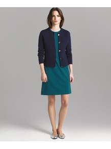 A Line Shift Dress - style: a-line; neckline: round neck; sleeve style: capped; fit: loose; pattern: plain; predominant colour: dark green; occasions: casual, evening; length: just above the knee; fibres: viscose/rayon - stretch; sleeve length: short sleeve; pattern type: fabric; texture group: jersey - stretchy/drapey