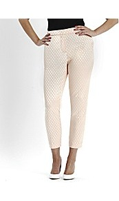 Pastel Jacquard Trousers - waist: mid/regular rise; predominant colour: blush; occasions: casual, evening; length: calf length; fibres: cotton - mix; fit: slim leg; pattern type: fabric; pattern size: standard; pattern: patterned/print; texture group: other - light to midweight; style: standard