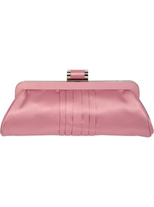 Pleated Clutch Handbag, Pink - predominant colour: pink; occasions: evening, occasion; type of pattern: standard; style: clutch; length: hand carry; size: small; material: satin; pattern: plain; finish: plain