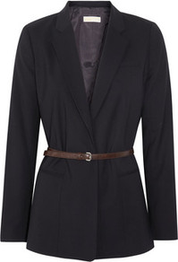 Stretch Wool Blazer - pattern: plain; style: single breasted blazer; length: below the bottom; collar: standard lapel/rever collar; predominant colour: black; occasions: evening, work; fit: straight cut (boxy); fibres: wool - stretch; waist detail: belted waist/tie at waist/drawstring; sleeve length: long sleeve; sleeve style: standard; collar break: low/open; pattern type: fabric; texture group: woven light midweight