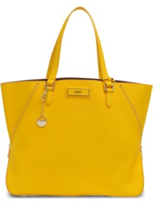 Large Zip Big Tote - predominant colour: yellow; occasions: casual, work, holiday; type of pattern: standard; style: tote; length: handle; size: standard; material: leather; embellishment: zips; pattern: plain; finish: plain