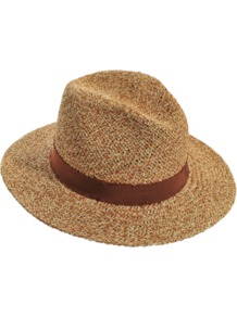 Large Hat - secondary colour: chocolate brown; predominant colour: camel; occasions: casual, holiday; type of pattern: standard; style: panama; size: standard; material: macrame/raffia/straw; embellishment: ribbon; pattern: plain