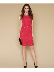 Marlene Sequin Dress - style: shift; sleeve style: capped; fit: tight; pattern: plain; predominant colour: coral; occasions: evening, occasion; length: just above the knee; fibres: polyester/polyamide - 100%; neckline: crew; sleeve length: short sleeve; texture group: sheer fabrics/chiffon/organza etc.; pattern type: fabric; pattern size: standard; embellishment: sequins