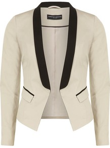 Stone Contrast Lapel Blazer - pattern: plain; style: single breasted tuxedo; collar: standard lapel/rever collar; occasions: evening, occasion; length: standard; fit: tailored/fitted; fibres: cotton - stretch; sleeve length: long sleeve; sleeve style: standard; predominant colour: monochrome; trends: tuxedo; collar break: low/open; pattern type: fabric; texture group: other - light to midweight