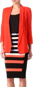 Block Swoop Blazer - pattern: plain; style: single breasted blazer; length: below the bottom; collar: standard lapel/rever collar; predominant colour: true red; occasions: evening, work, occasion; fit: straight cut (boxy); fibres: viscose/rayon - 100%; sleeve length: long sleeve; sleeve style: standard; texture group: crepes; collar break: low/open; pattern type: fabric