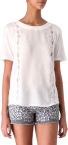 Lace T Shirt - neckline: round neck; pattern: plain; style: t-shirt; predominant colour: white; occasions: casual; length: standard; fibres: cotton - 100%; fit: straight cut; sleeve length: short sleeve; sleeve style: standard; texture group: cotton feel fabrics; pattern type: fabric