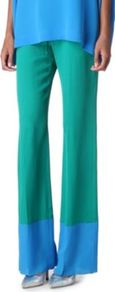 Jammy Trousers - length: standard; pocket detail: pockets at the sides; waist detail: belted waist/tie at waist/drawstring; waist: mid/regular rise; secondary colour: diva blue; predominant colour: pistachio; occasions: casual, evening, holiday; fibres: silk - 100%; hip detail: draped at hip/ruched; texture group: silky - light; fit: wide leg; pattern type: fabric; pattern size: big & light; pattern: colourblock; style: standard
