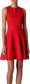 Colonel Heavy Jersey Dress - pattern: plain; sleeve style: sleeveless; waist detail: fitted waist; predominant colour: true red; occasions: evening, occasion; length: just above the knee; fit: fitted at waist & bust; style: fit & flare; fibres: viscose/rayon - stretch; neckline: crew; sleeve length: sleeveless; trends: volume; pattern type: fabric; texture group: jersey - stretchy/drapey