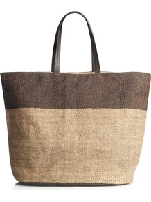 Wanda Jute Tote Bag - secondary colour: chocolate brown; predominant colour: stone; occasions: casual; style: tote; length: handle; size: oversized; material: macrame/raffia/straw; pattern: plain; finish: plain