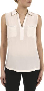 Crepe Front Sleeveless Jersey Shirt - neckline: shirt collar/peter pan/zip with opening; pattern: plain; sleeve style: sleeveless; style: shirt; bust detail: pocket detail at bust; back detail: contrast pattern/fabric at back; predominant colour: blush; occasions: casual, evening, work, holiday; length: standard; fibres: silk - 100%; fit: straight cut; hip detail: dip hem; shoulder detail: flat/draping pleats/ruching/gathering at shoulder; sleeve length: sleeveless; texture group: crepes; pattern type: fabric