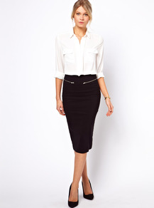 High Waisted Pencil Skirt With Zip Detail - length: below the knee; pattern: plain; style: pencil; fit: tight; waist detail: embellishment at waist/feature waistband; waist: high rise; hip detail: fitted at hip; predominant colour: black; occasions: evening, work; fibres: viscose/rayon - stretch; texture group: jersey - clingy; pattern type: fabric