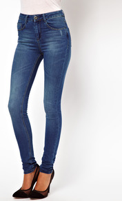 Ridley Supersoft High Waisted Ultra Skinny Jeans In Mid Stonewash - style: skinny leg; length: standard; pattern: plain; waist: high rise; pocket detail: traditional 5 pocket; predominant colour: denim; occasions: casual, evening; fibres: cotton - stretch; jeans detail: whiskering, washed/faded; texture group: denim; pattern type: fabric