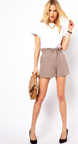 Shorts With Ruched Waistband - pattern: plain; style: shorts; pocket detail: large back pockets; waist: high rise; length: short shorts; predominant colour: taupe; occasions: casual, evening, holiday; fibres: polyester/polyamide - stretch; waist detail: paperbag waist; fit: straight leg; pattern type: fabric; texture group: other - light to midweight