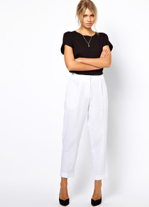 Peg Trousers In Linen - pattern: plain; pocket detail: large back pockets, pockets at the sides; style: peg leg; waist: high rise; predominant colour: white; occasions: casual, evening, work, holiday; length: ankle length; fibres: linen - mix; jeans &amp; bottoms detail: turn ups; texture group: linen; fit: tapered; pattern type: fabric
