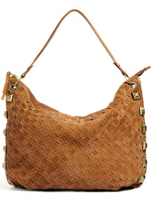 Weave Slouch Tote With Studs - predominant colour: tan; occasions: casual, evening, work; type of pattern: standard; style: shoulder; length: shoulder (tucks under arm); size: oversized; material: suede; embellishment: studs; pattern: plain; finish: plain
