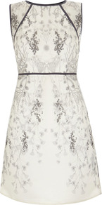 Anisa Print Organza Dress - style: shift; length: mid thigh; neckline: round neck; sleeve style: sleeveless; waist detail: fitted waist; shoulder detail: contrast pattern/fabric at shoulder; predominant colour: ivory; secondary colour: black; occasions: evening, occasion; fit: soft a-line; fibres: silk - 100%; back detail: keyhole/peephole detail at back; sleeve length: sleeveless; texture group: sheer fabrics/chiffon/organza etc.; trends: high impact florals; pattern type: fabric; pattern size: big & busy; pattern: florals