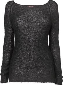 Women&#x27;s Daria Sequin Jumper, Black - neckline: scoop neck; sleeve style: extended cuff; pattern: plain; style: standard; predominant colour: charcoal; occasions: casual, evening, work, holiday; length: standard; fibres: polyester/polyamide - mix; fit: standard fit; hip detail: contrast fabric/print detail at hip; sleeve length: extra long; texture group: knits/crochet; pattern type: knitted - other; embellishment: sequins