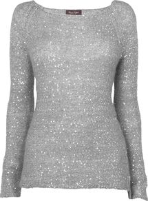 Women&#x27;s Daria Sequin Jumper, Silver - neckline: scoop neck; sleeve style: extended cuff; pattern: plain; style: standard; predominant colour: silver; occasions: casual, evening, work, holiday; length: standard; fibres: polyester/polyamide - mix; fit: standard fit; hip detail: added detail/embellishment at hip; sleeve length: extra long; texture group: knits/crochet; trends: metallics; pattern type: knitted - other; embellishment: sequins