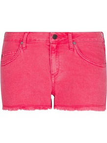 Frayed Hems Shorts, Geranium - pattern: plain; style: shorts; waist: low rise; pocket detail: traditional 5 pocket; length: short shorts; occasions: casual, holiday; fibres: cotton - mix; texture group: denim; fit: slim leg; pattern type: fabric; predominant colour: dusky pink
