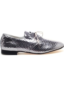 Leather Ballerina Shoes - predominant colour: silver; occasions: casual, evening; material: leather; heel height: flat; toe: round toe; style: loafers; trends: metallics; finish: metallic; pattern: animal print