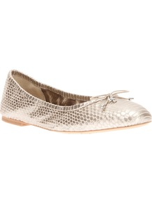'Felicia' Ballerina Flat - predominant colour: gold; occasions: casual, evening, holiday; material: leather; heel height: flat; toe: round toe; style: ballerinas / pumps; trends: metallics; finish: metallic; pattern: animal print; embellishment: bow