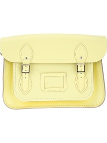 'Classic' 13 Inch Satchel - predominant colour: primrose yellow; occasions: casual, work; type of pattern: standard; style: satchel; length: across body/long; size: standard; material: leather; pattern: plain; finish: plain; embellishment: buckles