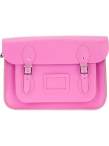 'Classic' 13 Inch Satchel - predominant colour: pink; occasions: casual, work; type of pattern: standard; style: satchel; length: across body/long; size: standard; material: leather; pattern: plain; finish: plain; embellishment: buckles