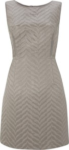 Jacquard Shift Dress, Stone - style: shift; length: mid thigh; neckline: round neck; fit: tailored/fitted; pattern: plain; sleeve style: sleeveless; waist detail: fitted waist; predominant colour: stone; occasions: evening, work, occasion; fibres: cotton - mix; sleeve length: sleeveless; trends: glamorous day shifts; pattern type: fabric; texture group: brocade/jacquard