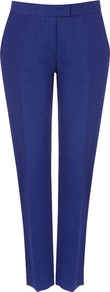 Precious Trousers, China Blue - pattern: plain; waist: mid/regular rise; predominant colour: royal blue; occasions: evening, work; length: ankle length; fit: straight leg; pattern type: fabric; texture group: woven light midweight; style: standard; fibres: viscose/rayon - mix