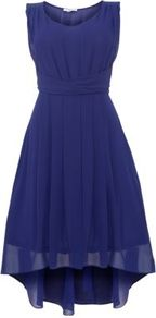 Purple Knot Front Chiffon Dip Hem Dress - neckline: round neck; fit: fitted at waist; pattern: plain; sleeve style: sleeveless; waist detail: structured pleats at waist; predominant colour: purple; length: just above the knee; style: asymmetric (hem); fibres: polyester/polyamide - 100%; occasions: occasion; hip detail: structured pleats at hip; sleeve length: sleeveless; texture group: sheer fabrics/chiffon/organza etc.; bust detail: tiers/frills/bulky drapes/pleats; pattern type: fabric