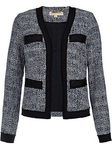 Bouclé Jacket - style: single breasted blazer; collar: round collar/collarless; pattern: herringbone/tweed; secondary colour: white; predominant colour: black; occasions: casual, evening, work, occasion; length: standard; fit: straight cut (boxy); fibres: polyester/polyamide - mix; sleeve length: long sleeve; sleeve style: standard; collar break: low/open; pattern type: fabric; pattern size: small & light; texture group: tweed - light/midweight