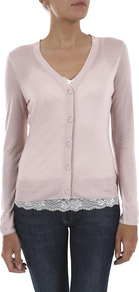 Jersey V Neck Cardigan - neckline: low v-neck; pattern: plain; bust detail: buttons at bust (in middle at breastbone)/zip detail at bust; predominant colour: blush; occasions: casual, work, holiday; length: standard; style: standard; fibres: viscose/rayon - 100%; fit: standard fit; sleeve length: long sleeve; sleeve style: standard; texture group: jersey - clingy; pattern type: knitted - fine stitch
