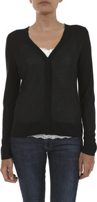 Jersey V Neck Cardigan - neckline: low v-neck; pattern: plain; bust detail: buttons at bust (in middle at breastbone)/zip detail at bust; predominant colour: black; occasions: casual, evening, work, holiday; length: standard; style: standard; fibres: viscose/rayon - 100%; fit: standard fit; sleeve length: long sleeve; sleeve style: standard; texture group: knits/crochet; pattern type: knitted - fine stitch