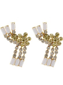 Jonquil Earring - predominant colour: ivory; occasions: evening, occasion; style: stud; length: short; size: standard; material: chain/metal; fastening: pierced; finish: metallic; embellishment: crystals