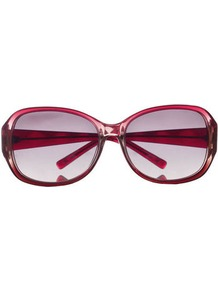 Sunglasses - predominant colour: true red; occasions: casual, holiday; style: round; size: large; material: plastic/rubber; pattern: plain; finish: plain
