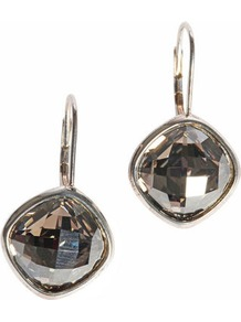 Drop Earrings - predominant colour: silver; occasions: casual, evening, work, occasion, holiday; style: drop; length: mid; size: small; material: chain/metal; fastening: pierced; finish: plain; embellishment: crystals