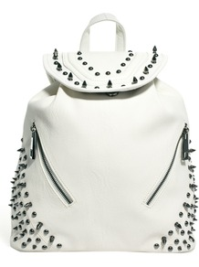 White Studded Rucksack - predominant colour: white; occasions: casual, work, holiday; type of pattern: small; style: rucksack; length: rucksack; size: standard; material: faux leather; embellishment: studs; pattern: plain; finish: plain