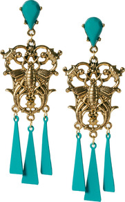 Metal Chandelier Earring - predominant colour: turquoise; occasions: evening, occasion; style: chandelier; length: long; size: large/oversized; material: chain/metal; fastening: pierced; finish: metallic; embellishment: jewels