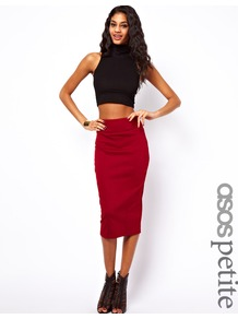 Petite Wasp Pencil Skirt In Ponte - length: below the knee; pattern: plain; style: pencil; fit: tight; waist: high rise; hip detail: fitted at hip; predominant colour: true red; occasions: evening, work; fibres: polyester/polyamide - stretch; texture group: jersey - clingy; pattern type: fabric