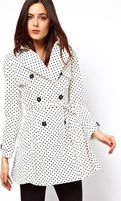 Spot Skater Mac - style: mac; pattern: polka dot; collar: standard lapel/rever collar; length: mid thigh; predominant colour: white; secondary colour: black; occasions: casual, work; fit: tailored/fitted; fibres: cotton - mix; waist detail: belted waist/tie at waist/drawstring; sleeve length: long sleeve; sleeve style: standard; texture group: cotton feel fabrics; collar break: medium; pattern type: fabric; pattern size: small &amp; busy