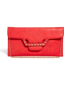 Studded Fastening Clutch Bag - predominant colour: true red; occasions: evening; style: clutch; length: hand carry; size: small; material: faux leather; embellishment: studs; pattern: plain; finish: plain