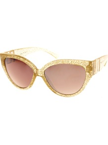 Claudine Cateye Sunglasses - predominant colour: gold; occasions: casual, holiday; style: cateye; size: standard; material: plastic/rubber; pattern: plain; trends: metallics; finish: metallic