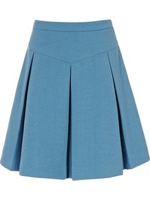 Lafayette Flared Skirt - length: mid thigh; pattern: plain; fit: loose/voluminous; style: pleated; waist: high rise; predominant colour: denim; occasions: casual, holiday; fibres: polyester/polyamide - 100%; hip detail: structured pleats at hip; pattern type: fabric; pattern size: standard; texture group: other - light to midweight